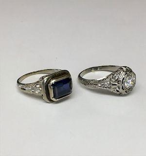 2 VINTAGE 18KT WHITE GOLD RINGS, 1 W .28CT DIAMOND