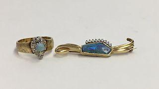 OPAL & DIAMOND PIN & RING SET , 14KT YELLOW GOLD