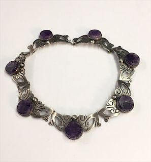 STERLING SILVER &  AMETHYST NECKLACE MARKED TAXCO