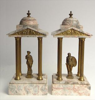 2 GRAND TOUR MARBLE PAGODA W/ CLASSICAL FIGURES