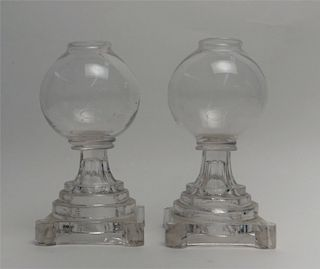 PR OF EARLY NEW ENGLAND GLASS WORKS CHAMPENE LAMPS