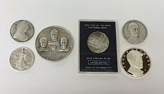 6 STERLING MEDALLIONS & 8 CARTIER STERLING S& P