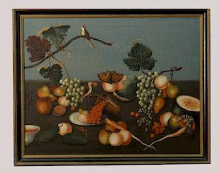 ITALIAN SCHOOL 19THC. STILL LIFE OF BIRDS & FRUIT