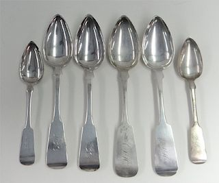 6 COIN SILVER SPOONS BY NYC MAKER