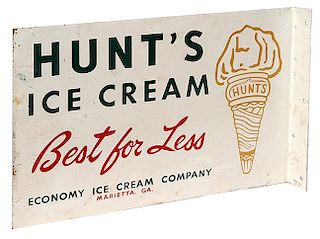 """HUNT'S ICE CREAM"" FLANGE TIN SIGN"