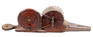 CABLE DRIVEN 19TH CENTURY WOOD AND BRASS BELLOWS