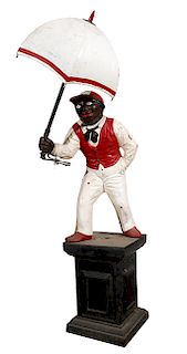 CAST IRON LAWN JOCKEY WITH UMBRELLA