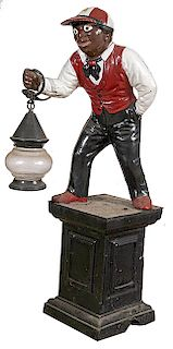 CAST IRON LIGHTED LAWN JOCKEY