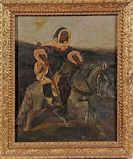 OIL PAINTING OF AN ARAB ON A HORSE