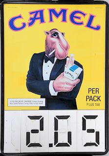 JOE CAMEL TIN MARKET CIGARETTE SIGN