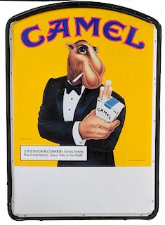 JOE CAMEL TIN MARKET TWO-SIDED CIGARETTE SIGN