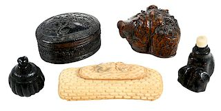 Five Asian Miniature Boxes and Bottles