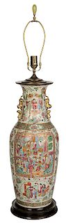Large Famille Rose Vase Converted to Lamp