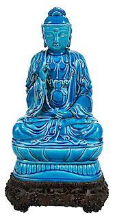 Turquoise Glazed Buddha on Stand