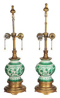 Pair Peking Glass Lamps