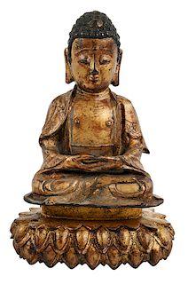 Bronze Buddha on Lotus Base