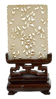 Chinese Carved White Stone Plaque