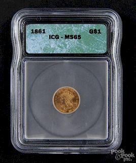 Gold Indian Princess dollar coin, 1861 type 3, ICG MS-65.