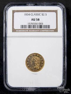 Gold Classy Head two and a half dollar coin, 1834, NGC AU-58.