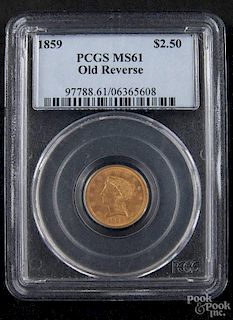 Gold Liberty Head two and a half dollar coin, 1859 (old reverse), PCGS MS-61.