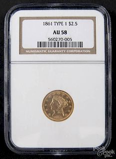 Gold Liberty Head two and a half dollar coin, 1861 type 1, NGC AU-58.