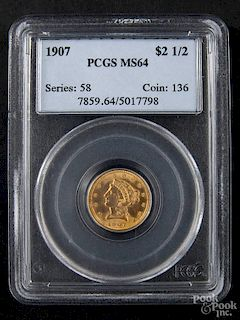 Gold Liberty Head two and a half dollar coin, 1907, PCGS MS-64.