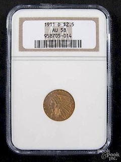 Gold Liberty Head two and a half dollar coin, 1911 D, NGC AU-58.