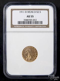Gold Indian Head two and a half dollar coin, 1911 D (weak D), NGC AU-55.