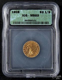Gold Indian Head two and a half dollar coin, 1908, ICG MS-63.