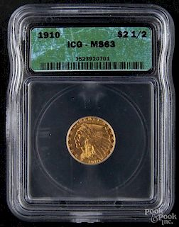 Gold Indian Head two and a half dollar coin, 1910, ICG MS-63.