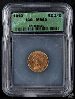 Gold Indian Head two and a half dollar coin, 1912, ICG MS-62.