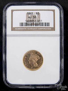 Gold Indian Princess three dollar coin, 1863, NGC AU-58.