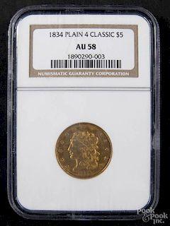 Gold Classy Head five dollar coin, classic plain 4, 1834, NGC AU-58.