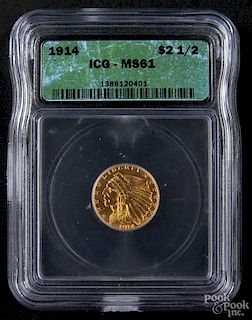 Gold Indian Head two and a half dollar coin, 1914, ICG MS-61.