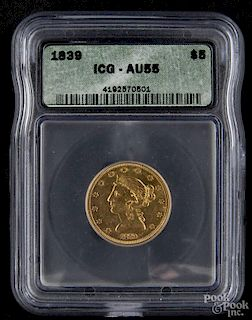 Gold Liberty Head two and a half dollar coin, 1839, ICG AU-55.