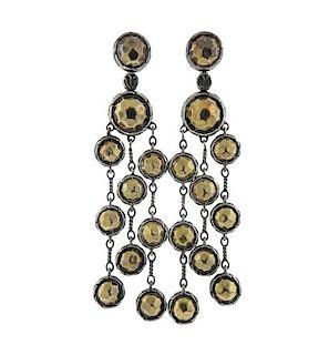 John Hardy Palu 22K Gold Silver Dangle Earrings