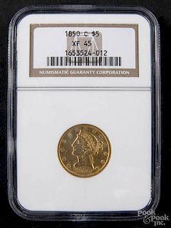 Gold Liberty Head five dollar coin, 1850 C, NGC XF-45.