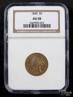Gold Liberty Head five dollar coin, 1840, NGC AU-58.