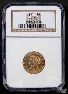 Gold Liberty Head five dollar coin, 1861, NGC MS-62.