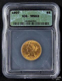 Gold Liberty Head five dollar coin, 1907, ICG MS-63.
