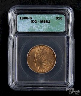 Gold Indian Head ten dollar coin, 1908 S, ICG MS-61.