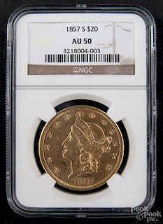 Gold Liberty Head twenty dollar coin, 1857 S, NGC AU-50.