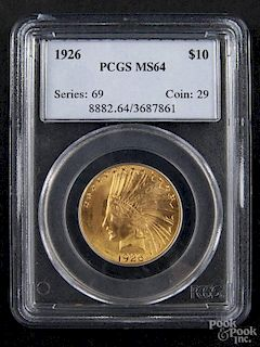 Gold Indian Head ten dollar coin, 1926, PCGS MS-64.