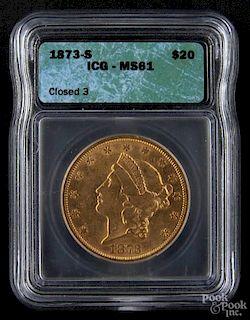 Gold Liberty Head twenty dollar coin, 1873 S, ICG MS-61.
