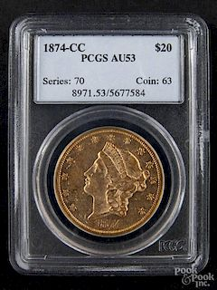Gold Liberty Head twenty dollar coin, 1874 CC, PCGS AU-53.