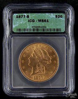 Gold Liberty Head twenty dollar coin, 1877 S, ICG MS-61.