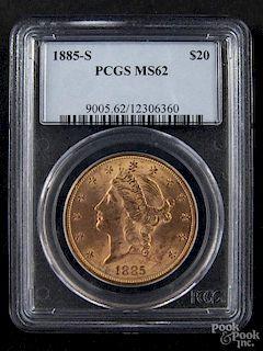 Gold Liberty Head twenty dollar coin, 1885 S, PCGS MS-62.