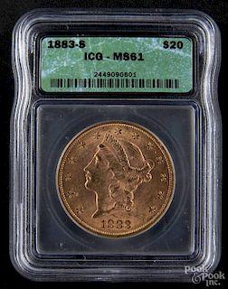 Gold Liberty Head twenty dollar coin, 1883 S, ICG MS-61.