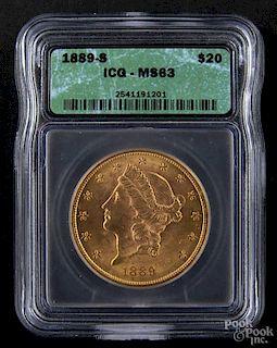 Gold Liberty Head twenty dollar coin, 1889 S, ICG MS-63.