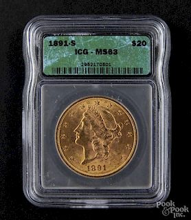 Gold Liberty Head twenty dollar coin, 1891 S, ICG MS-63.